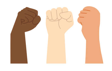 Raised hands of different colors  vector Çizim