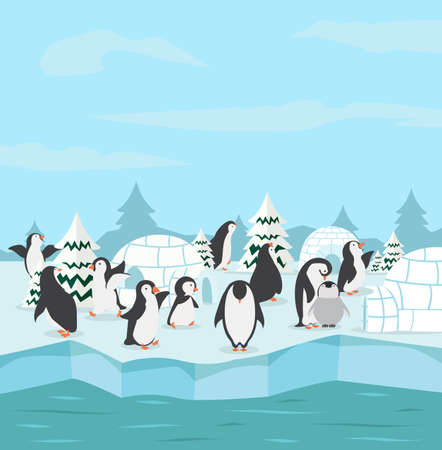 penguins family with winter north pole arctic concept Çizim