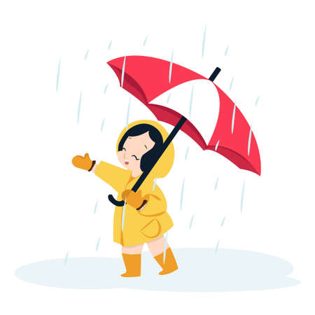 cute girl with umbrella in raincoat cartoon Çizim