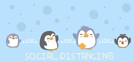 family penguin social distancing to prevent Coronavirus Stop Covid-19 Çizim