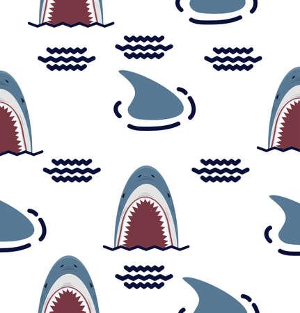 Big Shark  open mouth seamless pattern background