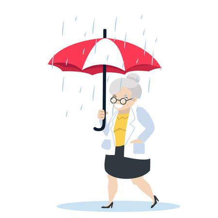 old woman with umbrella vector illustration rain