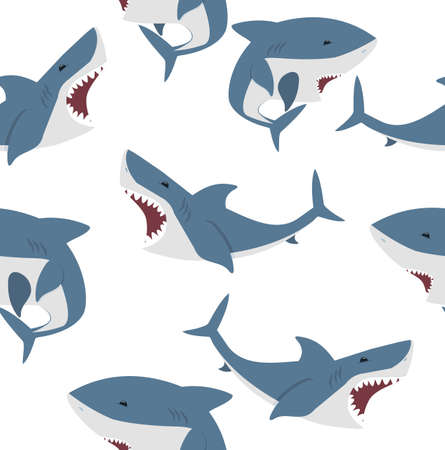 Big shark flat vector seamless pattern background