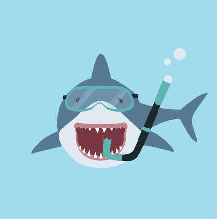Big shark with diving equipment vector cartoon