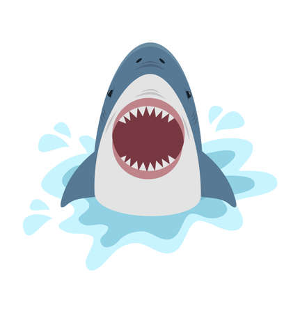 Cute shark with open mouth Vector