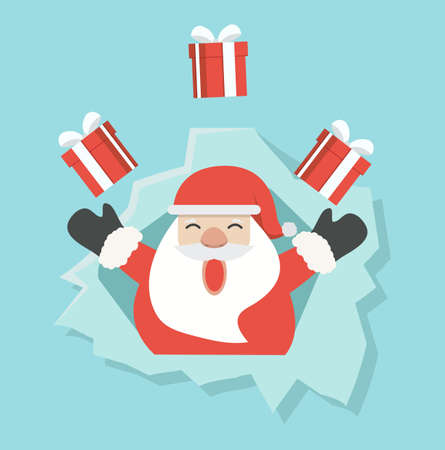 Santa Claus with gift in ripped paper hole concept