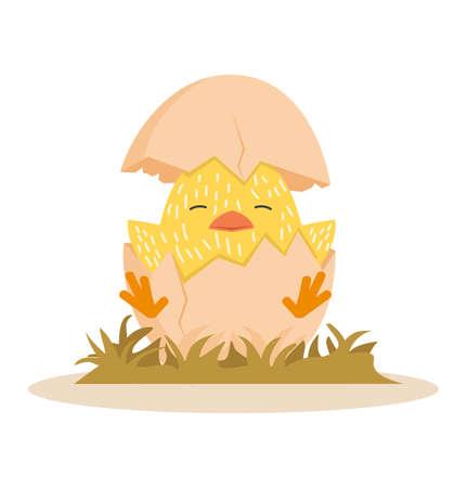 Cute chick in egg Cartoon  イラスト・ベクター素材