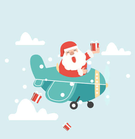 Santa Claus  flying plane with  dropping gifts