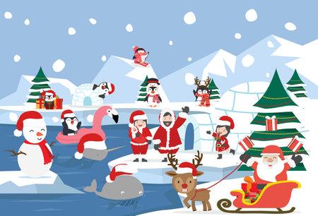 North pole Arctic landscape christmas cartoon vector