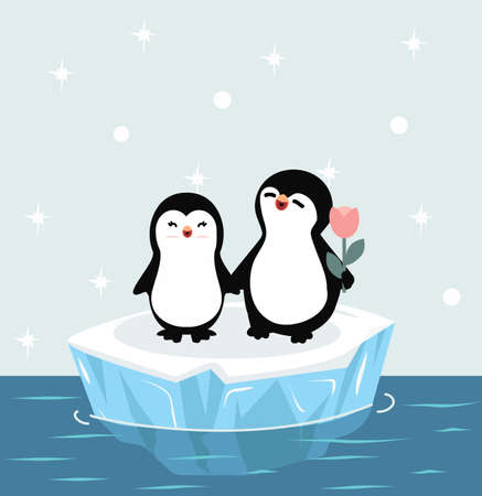Doodle Penguins happy Couple on ice floe vector cartoon