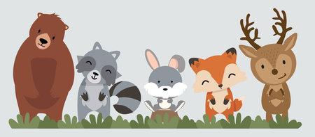Set of woodland animals set eps10