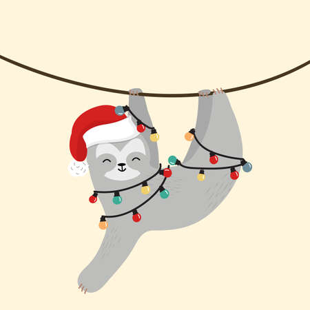 sloth with hat christmas climbing the vine eps10