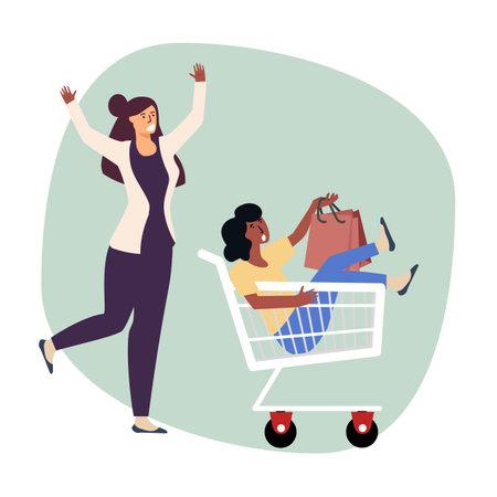 Woman push cart  sitting woman vector