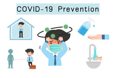 Prevention Coronavirus COVID-19 infographic with copy space concept