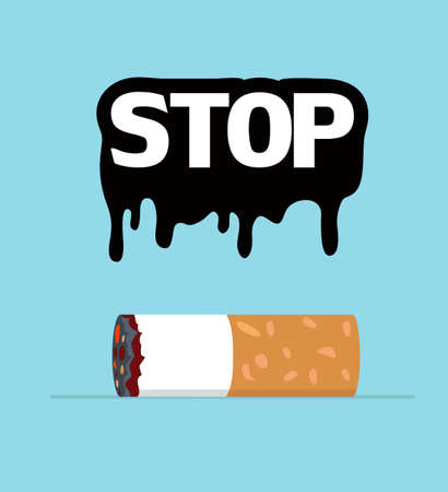 Stop Smoking of Cigarette butt eps10