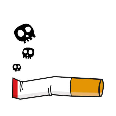 Burning cigarette butt with a smok Flat illustration Vektorgrafik