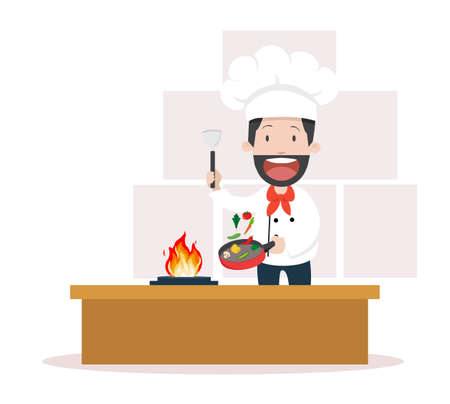chef cooking  meal on the kitchen vector