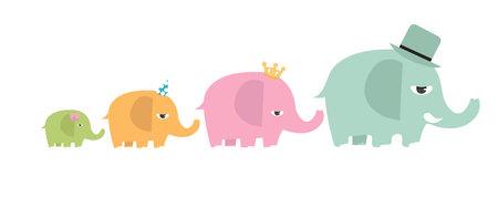 cute family elephants cartoon set Illusztráció