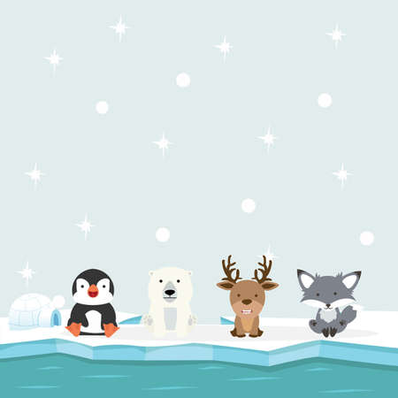 Cute arctic animals north pole in the ocean vector
