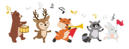 Set of woodland animals cheerful playing music Ilustração