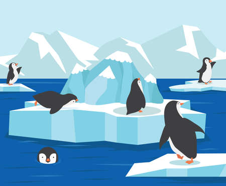 North pole Antarctica with penguins family