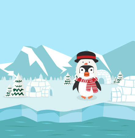 Penguin wearing snowman hat with winter north pole
