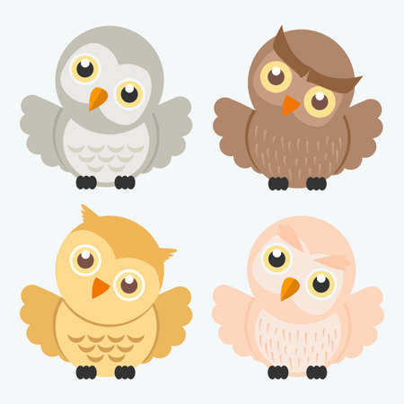 Cute owl Cartoon Vector Characters