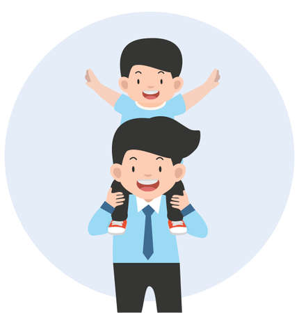Happy Father with son on shoulders vector