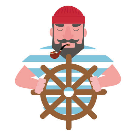 Cute Sailor  with a pipe vector cartoon