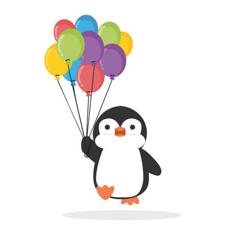Cute penguin cartoon holding balloon vector