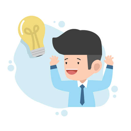 business man with light bulb Idea  concept Ilustração