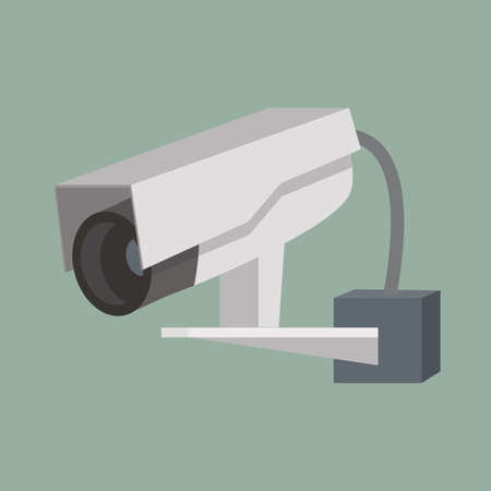 hanging CCTV Security camera vector Flat  style