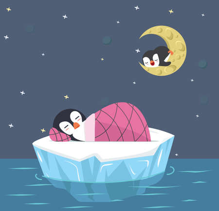 Cute penguin sleep on ice floe vector