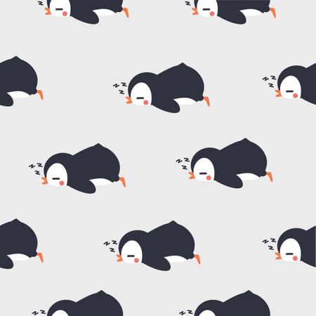 penguin sleeping  seamless pattern background Ilustração