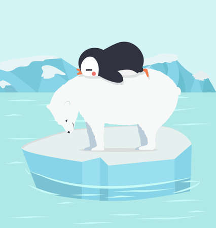 penguin sleeping with polar bear  at North pole Arctic Ilustração