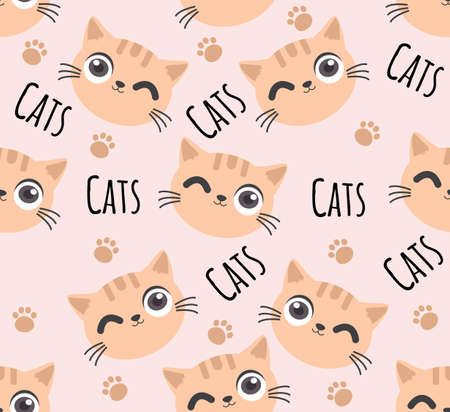 cute cat head seamless pattern background