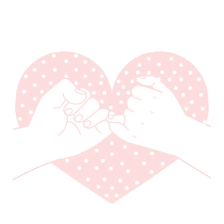 pinky promise with heart shape dot concept