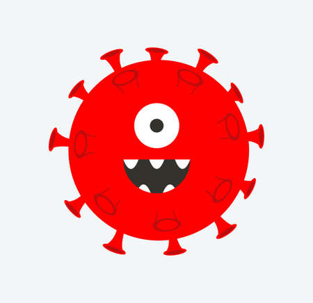 Cartoon Covid-19 virus vector on white