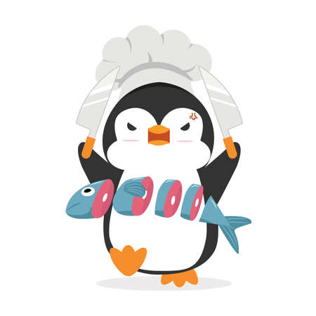 Penguin Cook Chef with fish eps10