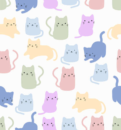 Cute cat doodle vector seamless pattern background Ilustração