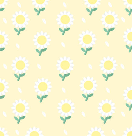 White daisy flower seamless pattern background