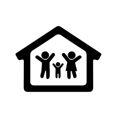 People  family icon vector stay at home Ilustração