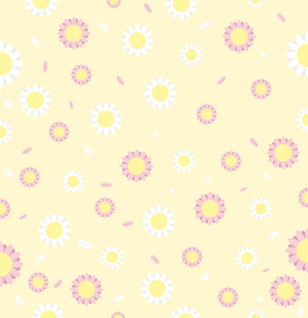 White daisy flower seamless pattern on background