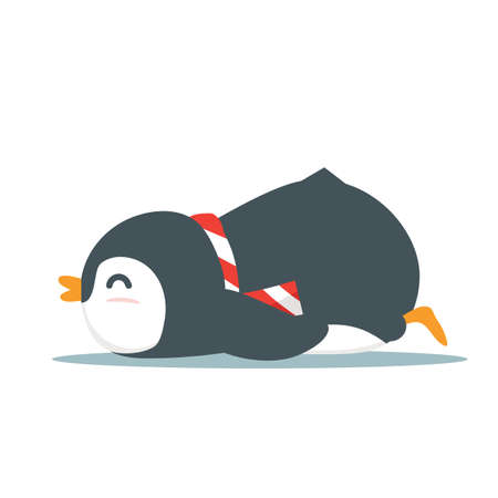 Cute Penguin animal sleep cartoon vector eps10 Ilustração