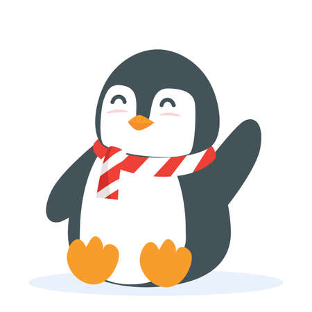 Cute Penguin animal sitting cartoon vector eps10