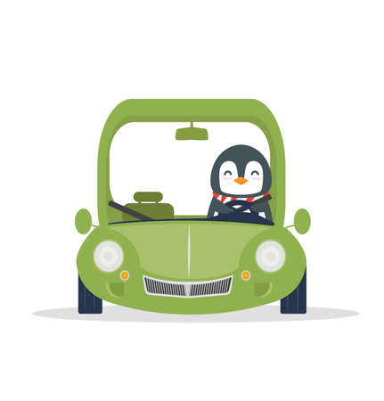 penguin  travel with Green car vector