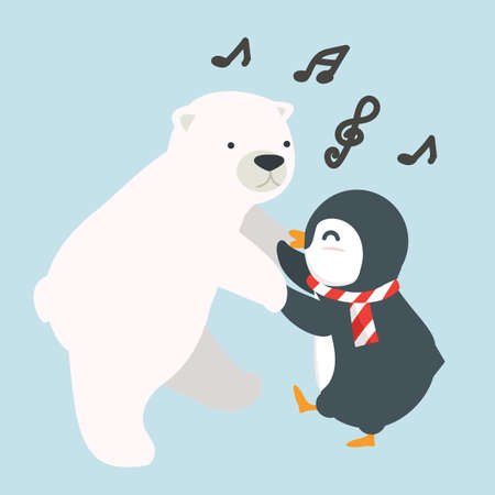 penguin with polar bear dancing vector cartoon Ilustração