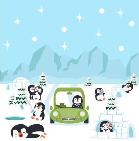north pole arctic with penguins background concept vector