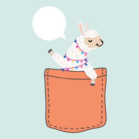 Cute llama alpaca face  in the pocket vector eps10 Ilustração