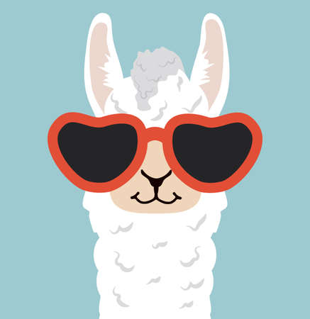 Head Alpaca funny cartoon vector eps10
